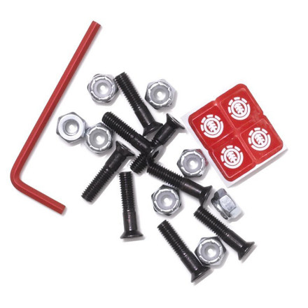 Skateboard Put some Element Thriftwood hardware in your deck and have peace of mind that you have some awesome freaking bolts. Element saw fit to only have them threaded half-way to sit flush in your deck with no play and increased strength. - $2.16