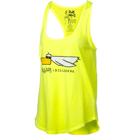 Surf Class up your tank top wardrobe with the beach- and bird-loving Billabong Women's Andy Davis Artist Series Pelly Boy Tank Top. Made from all cotton and cut with a racer back, this cool, casual tank sets itself apart from the rest with a sporty and fun artist-drawn pelican screen print. - $25.95