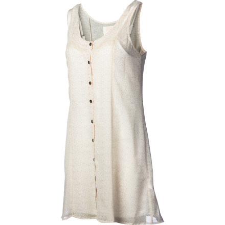 Entertainment Elegantly cool yet summer-breeze easy, the Quiksilver Women's Polka Trip Dress boasts a fine, feminine look and a beach-loving soul. Chiffon button-down tank with flirty faggoting detail and smooth slip lining gives that ethereal feel that's apropos at the beach or cocktail party. - $69.50