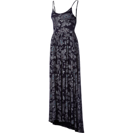 Entertainment The Quiksilver Blue Skies Floral Maxi Dress features a flattering empire waist and a full-length pleated skirt with a high-low hem. - $45.18