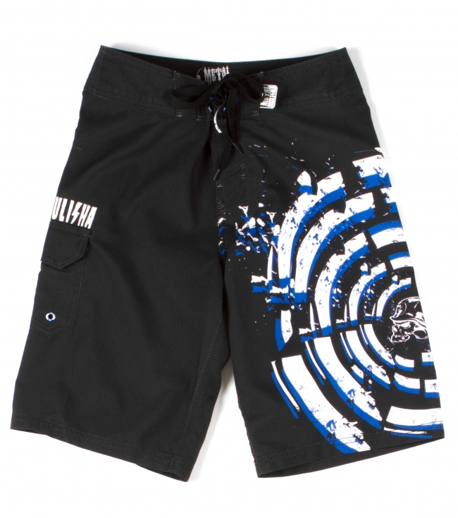 "Motorsports Metal Mulisha Boys boardshorts.  100% Poly anti moss.  19"" Outseam.  Comfort fly closure; print at left leg; cargo pocket; label at waitsband. - $24.99"
