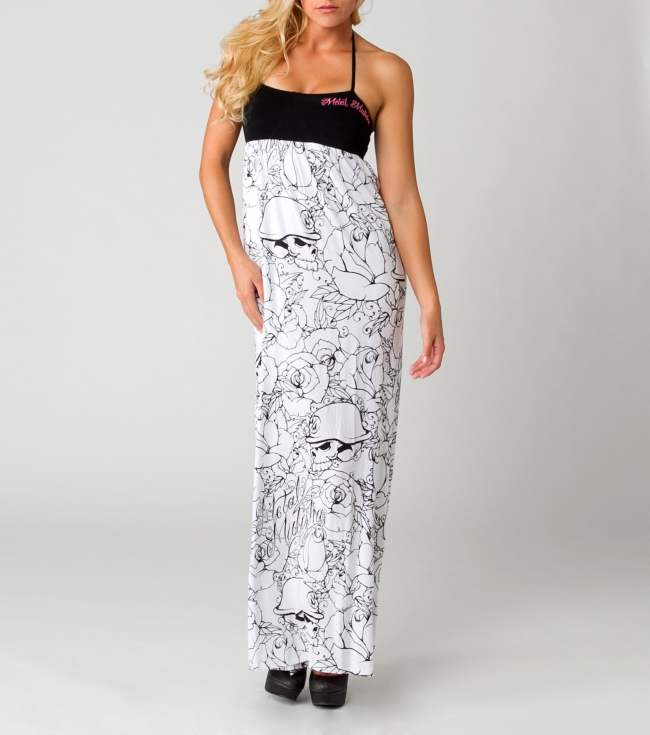 Motorsports Metal Mulisha Maidens Dress.  65% Cotton / 35% Viscose.  Maxi dress partially lined with adjustable halter strap at neck; allover screenprint; and smocked back bodice with cut out. - $19.99