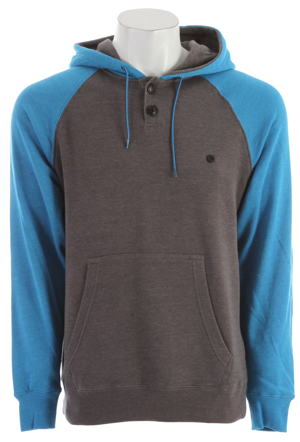 Surf Key Features of the Billabong Balance Pull Over Hoodie: Contrast raglan sleeve fleece in a henley pullover body with pouch pocket and Billabong metal badge on the left chest 60% cotton/40% polyester - $33.95