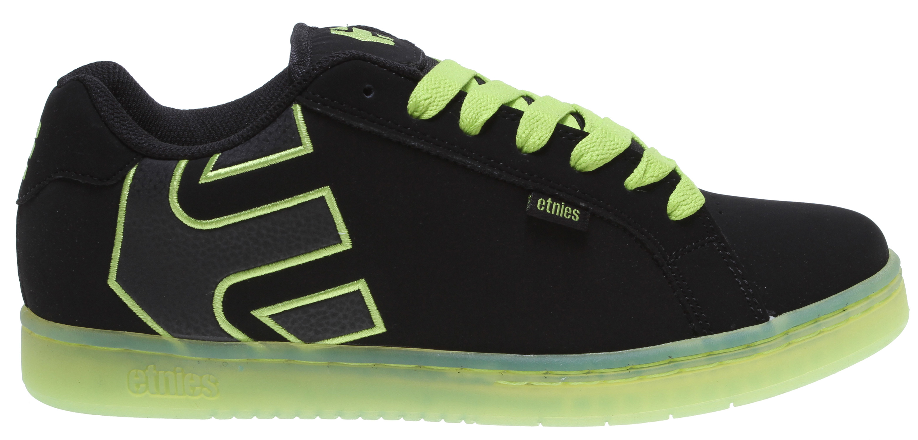 Fitness This long running etnies style and best seller has the trademark etnies arrow logo integrated into the heel area with elastic tongue-centering straps. It also features new 300 NBS rubber outsole with an internal EVA midsole, an STI Foam Lite Level 1 footbed and padded tongue and collar for additional protection and comfort. It is also available in the Metal Mulisha black/blue/grey colorway with new artwork and tongue branding, and the black/green/white Twitch/Famous Stars & Straps colorway featuring custom artwork and logos. - $69.95