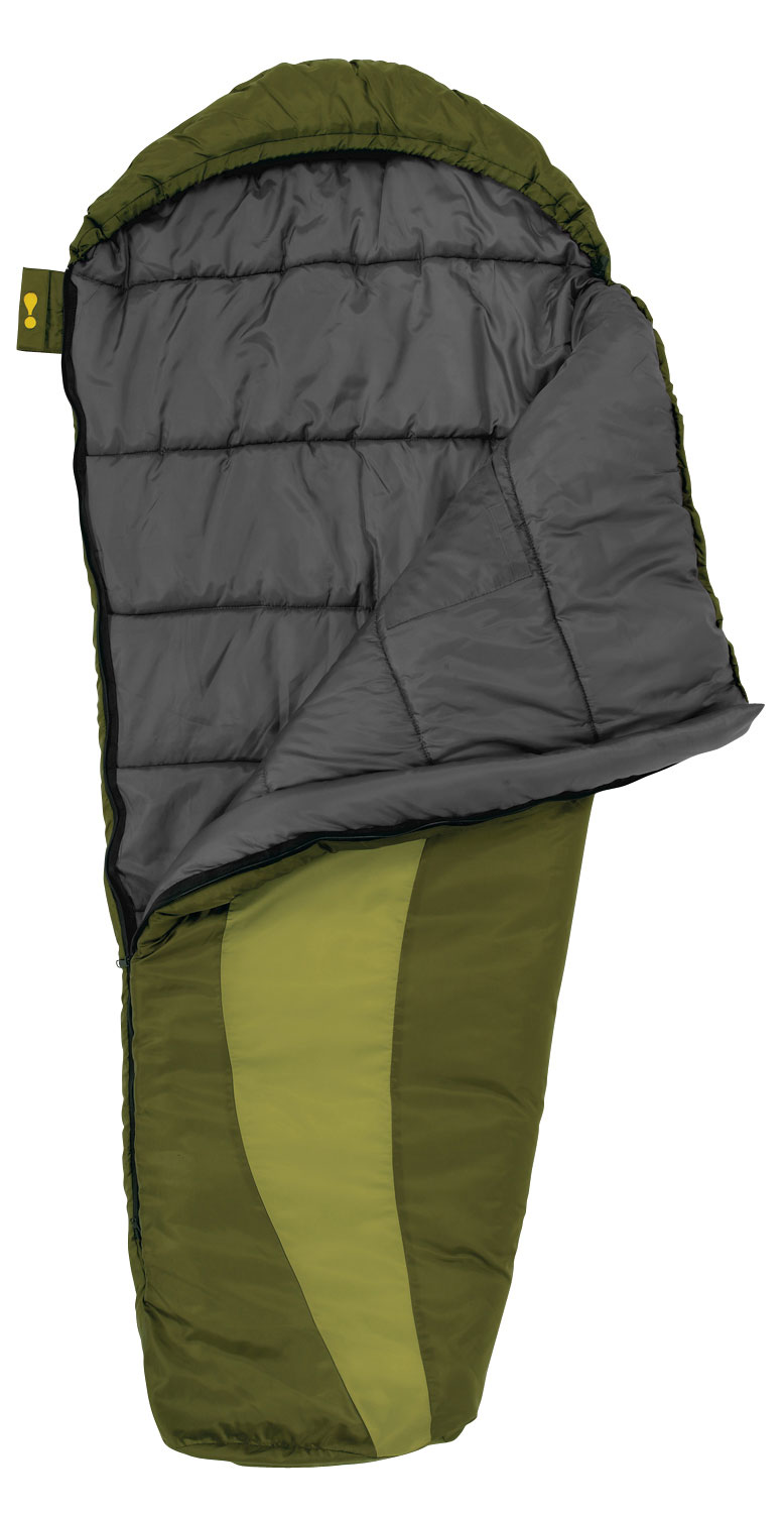 "Camp and Hike Kid's size mummy Bag Performance children's bags utilizing the same materials & construction as adult models.Key Features Eureka Grasshopper 30 Sleeping Bag: Shell Material: 75D polyester taffeta Lining Material: 75D polyester taffeta Insulation: Eureka! ThermaShield Zipper: # 5 Anti-snag zipper guard Internal pocket Included stuff sack Full length draft tube Hook & loop zipper closure Hang loops Zipper Closure: Hook & Loop Zipper Closure prevents the zipper from working open while your child sleeps. When not in use, it locks on itself so that it won't snag the fabric during use or laundering. Pocket: The pocket keeps your child's favorite items or small gear close at hand. Anti-snag: Integrated into the draft tube, the Anti-snag Webbing prevents the zipper from snagging as it opens and closes. Zippers: Non-Locking Compatible Zippers with self-repairing coils are durable and easy to operate. Draft Tube: Insulated Draft Tube runs the entire length of the zipper opening, on the inside of the bag, to keep cold air from getting through the zipper. Fit: Regular Size: 66"" x 26"" x 18"" - $34.95"