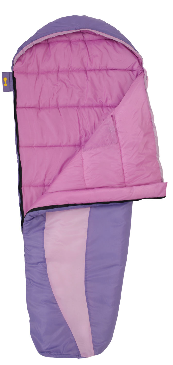 "Camp and Hike Kid's size mummy Bag Performance children's bags utilizing the same materials & construction as adult models.Key Features Eureka Ladybug 30 Sleeping Bag: Shell Material: 75D polyester taffeta Lining Material: 75D polyester taffeta Insulation: Eureka! ThermaShield Zipper: # 5 Anti-snag zipper guard Internal pocket Included stuff sack Full length draft tube Hook & loop zipper closure Hang loops Zipper Closure: Hook & Loop Zipper Closure prevents the zipper from working open while your child sleeps. When not in use, it locks on itself so that it won't snag the fabric during use or laundering. Pocket: The pocket keeps your child's favorite items or small gear close at hand. Anti-snag: Integrated into the draft tube, the Anti-snag Webbing prevents the zipper from snagging as it opens and closes. Zippers: Non-Locking Compatible Zippers with self-repairing coils are durable and easy to operate. Draft Tube: Insulated Draft Tube runs the entire length of the zipper opening, on the inside of the bag, to keep cold air from getting through the zipper. Fit: Regular Size: 66"" x 26"" x 18"" - $39.95"