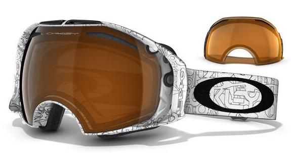 Snowboard Optimize your vision for any weather with the pull of a switchKey Features of the Oakley Airbrake Snowboard Goggles: Switchlock Technology For Fast And Easy Lens Interchangeability Rigid Exoskeleton Frame Eliminates Distortion With Enhanced Protection Flexible Face Plate And Triple Layer Face Foam Offers Plush Comfort Helmet Compatible O Matter Outrigger Strap Attachments Dual Vented Lens With F3 Anti-Fog Coating Includes 2 Lens Tints And Case Medium To Large fit - $164.95