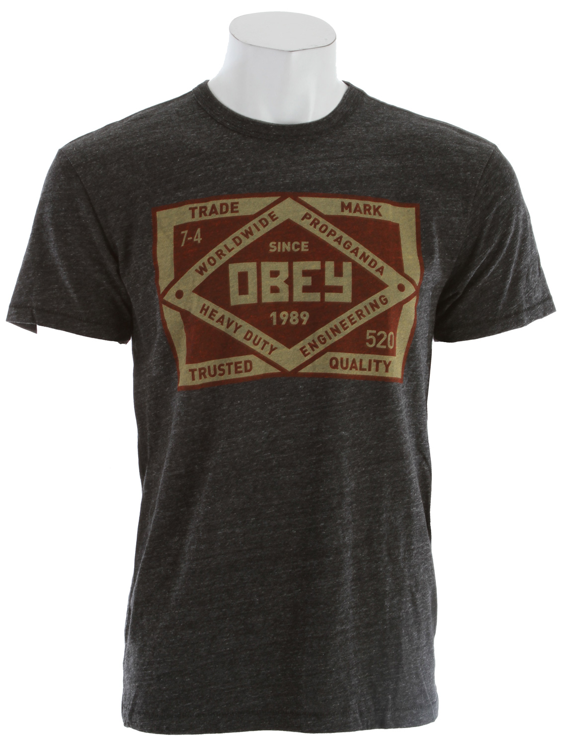 Key Features of The Obey Trademark T-Shirt: Slim Fit Crew Neck Short Sleeve Lightweight slim fit tri-blend tee with heather pattern rib neck binding 50% polyester/25% cotton/25% rayon - $29.95