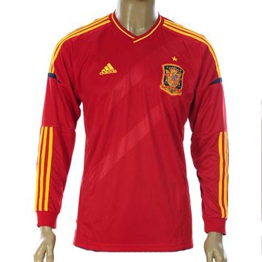 Entertainment Youth Spain Long Sleeve Home Soccer Jersey 2012-13 Season