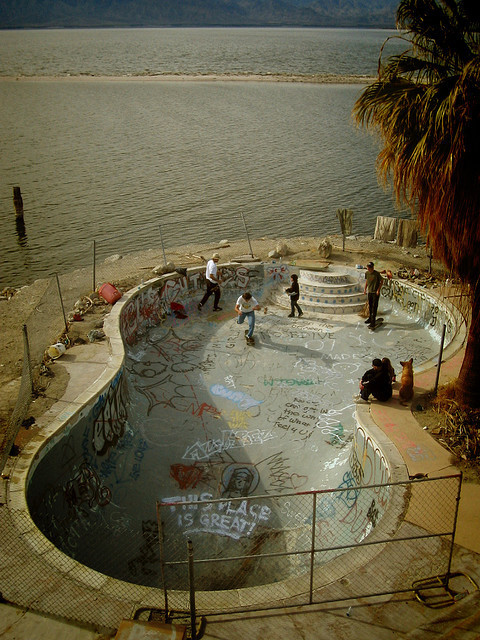 Skateboard pool party