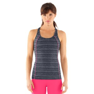 Fitness Electric neons. Bold pops of mesh. And unique design lines crafted to flatter every curve. When it comes to our UA Studio Rave Collection, innovation is in the design. Fresh and filled with attitude. It's like Under ArmourA(R) under a blacklight. Signature UA StudioLux(R) fabric delivers relentless performance with a super-soft feelUnparalleled support for a secure, confident fitLightweight, 4-way stretch construction improves mobility and maintains shapeModern racer back with feminine pintuck detailPiped pop-color princess seamsPolyester/ElastaneImported - $43.99