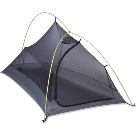 Camp and Hike The Big Agnes Fly Creek Platinum 1 is an ultralight, 3-season tent for 1 that weighs in at a scant 1 lb. 11 oz.; fully enclosed, mesh walls offer bug protection, ventilation and views. This freestanding tent uses the latest in ultralight fabric and materials to save weight; single hub pole assembly also saves ounces and is easy to set up. The platinum edition of the Fly Creek 1 tent is made in beautiful silver and gray colors that blend into your environment. Single end door and vestibule provide easy access and storage; stormflap seals and protects vestibule zipper. Lightweight and strong DAC Featherlite(R) NSL poles with press-fit connectors and a lightweight hub use an anodization process with fewer chemicals than other processes. DAC Twist clips attach tent body to the pole frame for quick and easy setup. Rainfly and seamless floor are made of high-tenacity ripstop nylon and are polyurethane- and silicone-coated for waterproof durability. Walls are constructed of woven polyester mesh, providing excellent ventilation and 360deg views. All seams are taped with waterproof, solvent-free polyurethane tape. Reflective guyouts and reflective webbing on tent corners increase visibility at night. Includes interior pocket and gear loft loop for storage. Superlight aluminum stakes and stuff sacks included. For a lightweight setup during nice weather, leave tent body behind; use the rainfly and footprint (sold separately) with the poles and stakes. - $329.93