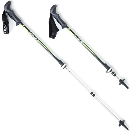 Camp and Hike The Leki Cristallo Antishock Speedlock trekking poles will help reduce stress on your knees by supporting and stabilizing you on the trail. Antishock system offers a shock-absorbency with minimal rebound. Simple and fast, SpeedLock external locking system requires little effort to securely adjust and lock pole sections into position. Aluminum alloy allows thin shaft walls, providing a 20% reduction in swing weight without loss of strength. Light and soft Aergon rubber grips feature an edgeless shape and a textured surface to maximize comfort and minimize hand fatigue. 3-section telescoping poles extend from 27.5 - 57 in. Baskets provide extra support on soft terrain. Scratch-resistant surfaces and high-polish lacquering help protect the Leki Cristallo SpeedLock trekking poles from abrasion. Durable carbide tips optimize grip on ice and rocks. - $139.95