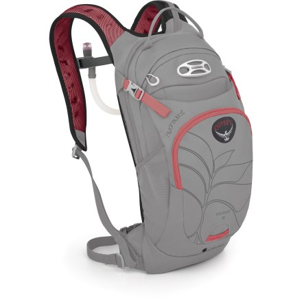 Fitness This women's Osprey Verve 5 hydration pack offers a low-profile design and a 2 liter hydration capacity to quench your thirst on your short and fast bike rides. Hydration system features a 2 liter (70 fl. oz.) reservoir that conforms to back's shape even when full, resulting in a precise, stable and comfortable fit. Rigid spine/handle stabilizes the reservoir, making it easy to slide it into its dedicated compartment; large mouth makes filling/cleaning easy. Hydration reservoir pocket has zippered access that extends onto shoulder strap, letting you remove, refill and replace reservoir and drink tube quickly and with minimal fuss. Women-specific shorter torso design incorporates padded mesh back panel and mesh shoulder straps for great next-to-body comfort. Magnetic attachment on sternum strap keeps the hydration bite valve easily accessible. Main compartment has tool organization sleeves and a mesh pocket is ideal for carrying pumps, bike tools and tubes. Front zippered pocket has additional mesh pockets for more organizational options; key clip secures keys. Quick-access top zippered pocket is lined with a soft, easy-to-clean heat-embossed fabric that helps keep sunglasses or other fragile items from getting scratched. Quickly attach a helmet to the Verve 5 with the LidLock(TM) helmet clip; bungee on the exterior of the pack allows easy adjustment of the LidLock feature. Shove-it pocket can be cinched down to secure bulky items like a jacket. Compression straps help stabilize pack and contents; removable webbing waistbelt helps stabilize pack. Reflective trim increases visibility in low light. The Osprey Verve 5 hydration pack sports a BPA- and PVC-free reservoir that does not retain tastes or odors and features an antimicrobial treatment to deter bacterial growth. - $89.00