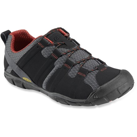 Camp and Hike The Keen Tunari CNX cross-training shoes are built for multisport adventures, and feature a low-profile fit that keeps you connected to the terrain. Breathable synthetic mesh uppers feature synthetic textile overlays for lightweight support. Dri-Lex(R) nylon linings are moisture wicking and quick drying for all-day comfort. Contoured topsoles feature metatarsal ridges just behind the toes for enhanced fit and feel; molded arches supply light support. Thin polyurethane midsoles have a 4mm heel-to-toe drop to encourage natural movement while also offering light cushioning underfoot. Thermoplastic urethane shanks supply stability and support for tackling uneven terrain. Nonmarking rubber outsoles on the Keen Tunari CNX shoes feature multidirectional flex grooves with razor siping for enhanced traction on slick surfaces. Please note: as part of the Keen CNX line, these shoes have a slightly reduced width and overall volume compared to regular Keen shoes to provide a better-connected fit. - $54.83