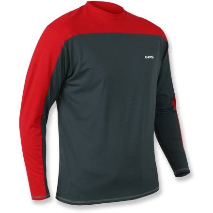 Kayak and Canoe The NRS Crossover rashguard helps you stay cool in warm weather thanks to its quick-drying, moisture wicking fabric. Nylon and spandex fabric provides UPF 50+ sun protection on the shoulders, and UPF 45 in the body. Flat-stitched seams minimize chafing. NRS Crossover rashguard offers a relaxed fit. - $32.93