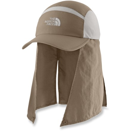 Headed to a sunny climate? Take The North Face Badwater Mullet hat along to shade your face and neck from harmful solar rays. With a UPF 50+ rating, fabric provides excellent protection against harmful ultraviolet rays. Nylon fabric and polyester mesh panels combine to keep your head cool and comfortable; fabric dries fast. Removable fabric cape shades your neck and ears from the sun; snap keeps the cape secured under your chin. Adjustable strap in back fine-tunes the fit of The North Face Badwater Mullet hat; 1 size fits most. - $35.00