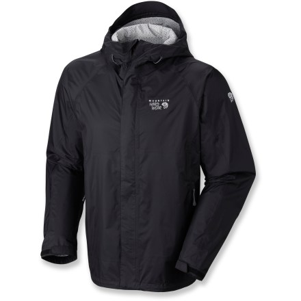 The Mountain Hardwear Sirocco jacket provides lightweight, packable, waterproof protection for on-mountain activities. Sirocco wicks moisture quickly and efficiently, and it's highly breathable. Dry.Q(TM) EVAP ripstop nylon features an air-permeable membrane that allows air to pass outward through the fabric so you stay dry on the inside as well as from the outside. Fabric's always-on airflow doesn't wait for you to heat up before beginning to breathe; breathability and comfort start the minute you put on the jacket. Moisture disburses and evaporates quickly through a network of channels on the interior; breathability is improved, and ultimately, you stay dry and more comfortable. Brimmed hood's side and back volume adjustments tailor the fit for coverage that keeps your head dry, yet allows good peripheral vision. Cuffs tabs and hem drawcords provide quick fit adjustments. Water-resistant zip hand pockets. - $96.83