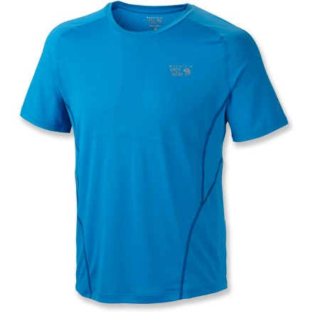 Fitness Rigorously tested by trail runners, the Mountain Hardwear Way2Cool(TM) T-shirt offers performance-enhancing comfort during the toughest miles ahead. Quick-drying, moisture-wicking fabric moves moisture away from your skin; open-knit mesh structure allows maximum airflow while a special fabric treatment fights odors. Specialized fabric panels use a technology called Cool.Q(TM)ZERO to enhance the process of moisture wicking and create a continuous cooling sensation during the run. Flatlock seams minimize abrasion. Reflective highlights enhance visibility. The Mountain Hardwear Way2Cool T-shirt offers a close-to-body fit. - $44.93