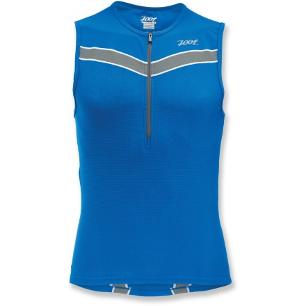 Surf Train for your triathlon in gear made just for that purpose. The men's Zoot Active Tri Mesh Tank is your new training buddy. Ventilator mesh fabric helps you stay dry and comfortable when you're working hard. Back pockets keep nutrition gels within reach. 10-inch front zipper allows for ventilation. The Zoot Active Tri Mesh Tank has a dropped back hem and 25-inch front body length. - $26.83