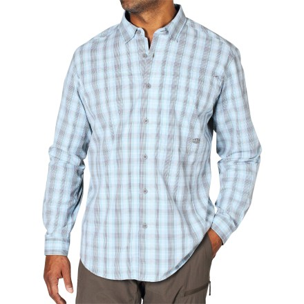 Camp and Hike Whether your trip takes you to the Taj Mahal or your local town center, the ExOfficio Dri Fly Flex Plaid shirt will keep you happy with its quick-dry fabric and travel-friendly features. Nylon/polyester Coolmax(R) fabric wicks moisture and dries quickly so you stay comfortable while traveling. Ventilation in back helps keep you cool on a hot summer day. Discreet zippered chest pocket secures a passport and other sensitive travel items. Sleeves roll up and secure with button-closure tabs. The ExOfficio Dri Fly Flex Plaid shirt has an integrated locker loop. - $62.93