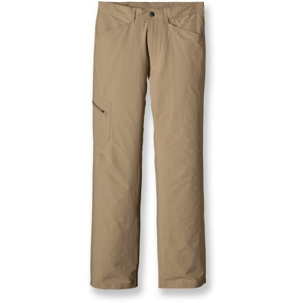 Camp and Hike Offering lightweight durability and comfortable stretch, the Patagonia Rock Craft pants let you test yourself and tackle the most challenging routes with total confidence. Lighweight nylon with a touch of spandex stretches as far as you do. Durable Water Repellent finish allows water to bead up and roll off, keeping you dry in light rain. Integrated UPF 40 sun protection continuously guards against harmful ultraviolet rays, keeping your skin safe no matter how long your day lasts. 2 hand pockets, 2 rear pockets, additional zippered side leg pocket. Patagonia Rock Craft pants feature a fully gusseted crotch and articulated knees for free range of motion. Closeout. - $54.93
