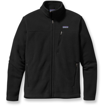 Add the cozy warmth of fleece to your cold-weather layering system with the ligthweight, durable Patagonia Simple Synchilla jacket. Tightly woven double-face polyester fleece (85% recycled) insulates while remaining breathable so you stay comfortable even when working hard. Tall collar adds extra warmth; fleece-lined chin flap and zipper guard protect against abrasion. 2 zippered hand pockets and 1 zippered chest pocket stow essentials; unzip the pockets for increased ventilation thanks to mesh pocket linings. Closeout. - $82.93