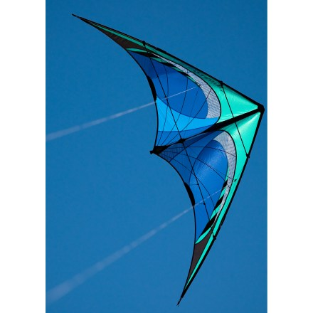 Camp and Hike Serious performance in an entry-level package, this kite is suitable for beginners on up! Packable design travels to remote destinations with ease. Ripstop nylon and mylar laminate sails are tough and light for long-lasting performance. Kevlar reinforced nose and Kinetic Dissipator spine system absorb unplanned landings. Pultruded carbon spars assemble quickly and are extremely durable. High-strength and abrasion resistant Spectra line keeps you flying your kite, not chasing it. Wrist straps, line and Turbo bridles are color coded for no-hassle set-up. Pieces pack up for travel into a compact zippered sleeve under 35 inches in length--instructions are printed inside sleeve to avoid accidental loss. Impressive pull and rock-steady tracking for use in 3-25mph winds--moderate speed and adjustable bridles let you dial in your level of fun. Set includes: convertible travel case, 150# x 85 foot Spectra lines, winder, flight straps, kite and complete instructions. - $120.00