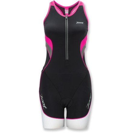 Fitness The women's Zoot Ultra Tri racesuit is built smart for race day. Compressive fabric provides muscle support, helping to reduce muscle fatigue. Highly supportive, X-shaped band of mesh fabric runs along the back of the internal bra to enhance posture and ventilation. Quick-drying, chlorine-resistant fabric provides UPF 50+ sun protection. Mesh panels provide superb ventilation and easy stretch without sacrificing coverage. 12 in. locking zipper features soft-finish binding and allows high ventilation. Low-profile fleece pad provides quick-drying comfort in the saddle. Smart hem design provides targeted muscle support for increased endurance while eliminating the need for leg grippers. Reflective detailing on the Zoot Ultra Tri racesuit increases visibility in dim light. Unique seams go a step beyond traditional flatlock sewing: seams stretch with you and let fabric sit as closely as possible to the body to reduce chafing. The Zoot Ultra Tri racesuit has hip holster and back pockets to stash your energy food. - $139.93
