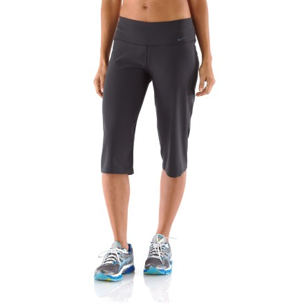 Fitness Ready for your next workout, the women's Nike Legend 2.0 Regular Poly capris offer a natural fit. Dri-FIT(R) fabric delivers high-tech moisture management to keep you cool and dry, and it feels soft and comfortable against your skin. Recycled polyester and spandex fabric hugs your body through hips and thighs, reduces friction and offers a sleek look. Waistband offers a bit of extra coverage when you're bending and stretching. Waistband pocket stores small items such as a key or debit card. The Nike Legend 2.0 Regular Poly capris pants offer a next-to-body, athletic fit. - $15.83