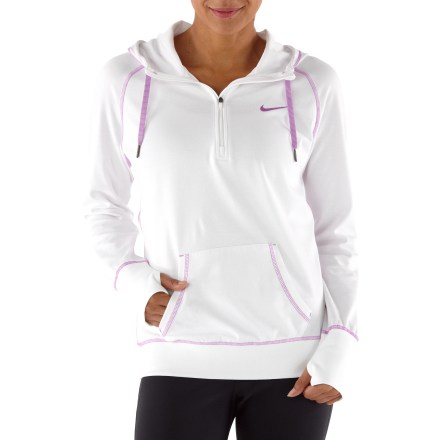 Ski The Nike All Time lightweight half-zip hoodie offers light protection on the run, keeps you warm at the gym and supplies the classic comfort of a hooded top anytime you like. Cotton and polyester fabric offers full stretch, light warmth and efficient moisture management; brushed interior feels great against your skin. Sleeves, cuffs and hem feature a double-knit ribbing to enhance fit. 3-piece, scuba-neck hood won't restrict your movement. Thumbholes envelop wrists for added warmth. Front zipper ventilates instantly. The Nike All Time Lightweight half-zip hoodie features a front kangaroo hand pocket to shelter chilly fingers. - $41.93