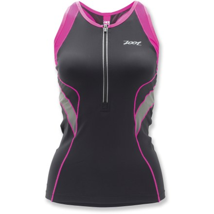 Fitness Built to perform at the highest level of comfort, the Zoot Ultra Tri tank top is a great choice for race day. Compression fabric provides muscle support for specific parts of the body, helping reduce muscle fatigue and increase endurance. Highly supportive, X-shaped band of mesh fabric runs along the back of the integrated internal bra to enhance posture and ventilation. Ingenious technology reflects UV and heat rays, so even dark colors don't get hot, keeping you cooler in the sun. Quick-drying fabric offers a UPF rating of 50+ for excellent sun protection. Anti-friction panels reduce chafing and provide maximum moisture and odor management. 10 in. locking zipper allows even more ventilation. Unique seams go a step beyond traditional flatlock sewing: seams stretch with you and let fabric sit as closely as possible to the body. Dropped back hem; 23 in. length. Back pockets keep your fuel close when you're working hard. - $65.93