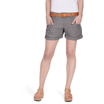 Roll up the Nau Prose shorts when you want a more active style. These shorts are ready for summer fun. 100% organic cotton canvas weave is soft and comfortable. Zip fly with button waist; belt loops. Front hand pockets. Side hems roll up and secure with button tabs. - $48.93