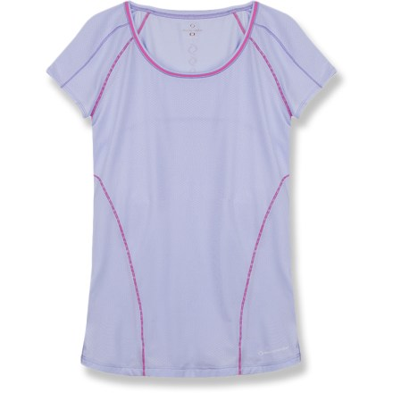 Lead your Sunday morning group runs with the Moving Comfort Frontrunner T-shirt. Polyester and spandex fabric wicks moisture, dries quickly and offers a comfortable feel. Rear zippered pocket stores small items. Raglan sleeves increase freedom of motion. The semifitted Moving Comfort Frontrunner T-shirt moves with you during activity without being too tight. Closeout. - $15.73