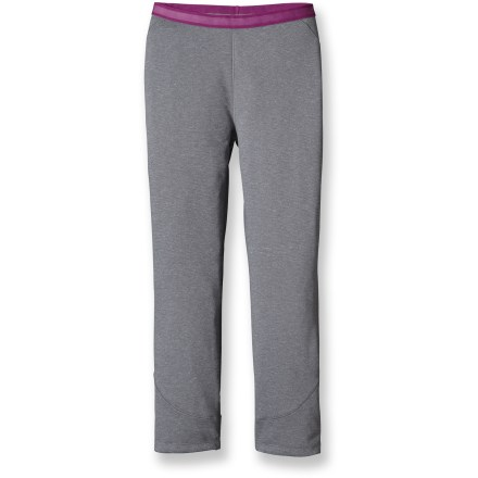 A versatile base layer for cool to cold weather, the women's Patagonia Capilene(R) 3 Midweight Boot-Top Long Underwear bottoms are highly breathable, moisture-wicking and fast drying. Designed to work with boots, inseam is cut 6 in. shorter than a standard pair of long-underwear bottoms to reduce binding. The smooth exterior of Polartec(R) Power Dry#&174; polyester slides easily under layers, and its brushed interior feels soft against skin. Gladiodor(R) natural odor control employs benign amino acids to help keep funky scents at bay; plus, it's nonpolluting, safe and durable. Gusseted crotch design moves seams to a more comfortable location and allows unrestricted range of motion. Side seams are positioned a bit forward to create chafe-free comfort. Plush, brushed waistband offers next-to-skin softness; medium rise hits just below the natural waist. Contoured, slim fit minimizes bulk to create an easy-layering garment that won't restrict your movement. Flatlock seams are non-bulky and supple. 100% recyclable through Patagonia's Common Threads Recycling Program-simply return your worn-out item to Patagonia. Closeout. - $32.93