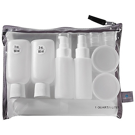 Entertainment On Sale. Eagle Creek Pack-It Custom Travel Bottle Set DECENT FEATURES of the Eagle Creek Pack-It Custom Travel Bottle Set Meets 3-1-1 TSA requirements One-quart, zip top bottle set for airline security screening Set includes 1 quart / 1 L bag 4 - 3 oz squeezable bottles 6 interchangeable lids 2 pop tops 2 flip tops 1 spray top 1 pump top 2 pill cases Toothbrush holder The SPECS Weight: 11.5 oz / 400 g Dimension: 11.5 x 9 x 4in. / 29 x 23 x 10 cm LDPE plastic bottle Clear TPU - $13.50