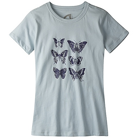 Mountain Khakis Women's Butterflies SS Tee DECENT FEATURES of the Mountain Khakis Women's Butterflies Short Sleeve Tee 5.5 oz 100% Certified Organic Cotton Jersey Water-Based Inks Limited Edition Hand-Drawn Artwork Taped Neck Seam Side Seam Construction Cotton/Spandex Rib Neck Double-Needle Cover-Stitched Seams Enzyme Washed Contemporary Fit, Feminine Flair - $29.95