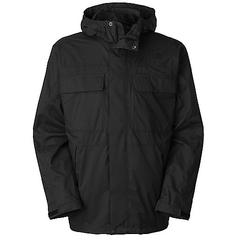 Free Shipping. The North Face Men's Stillwell Rain jacket DECENT FEATURES of The North Face Men's Stillwell Rain jacket Adjustable, fixed hood Chest pocket with Velcro closure, media egress and cord guide Welted zip hand pockets Adjustable drawcord at hem Adjustable cuffs with Velcro closure Embroidered logo at left chest and back right shoulder The SPECS Average Weight: 25 oz / 710 g High Point Shoulder: 30in. Body: 70D x 160D 140 g/m2 100% nylon HyVent 2L twill Lining: 70D 63 g/m2 100% nylon taffeta This product can only be shipped within the United States. Please don't hate us. - $179.95