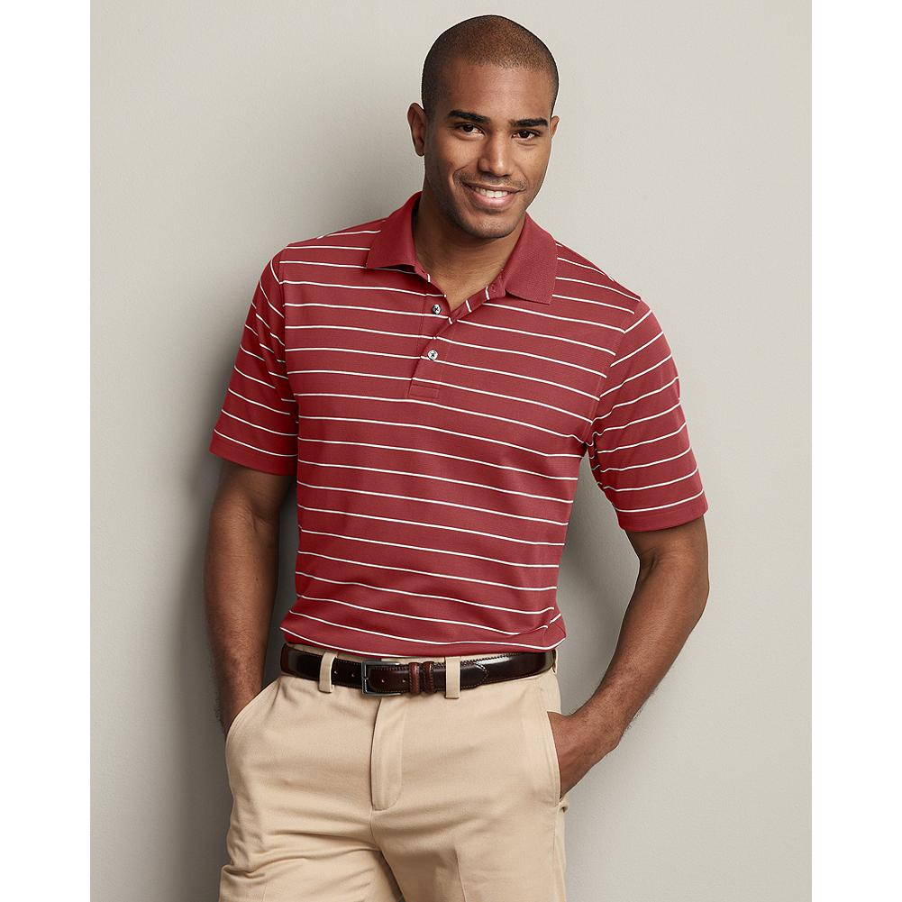 Entertainment Eddie Bauer Short-Sleeve Performance Polo Shirt - Stripe - Our most versatile polos on the green, at the office, or on the town. Pima cotton blended with Cocona natural technology(TM) dries fast, blocks the sun's harmful rays, and keeps you cool and dry. What's more, the technology is embedded in the fiber, so the benefits won't wash or wear out. That functionality doesn't require special care either. Just wash, dry, and wear-no ironing needed. - $19.99