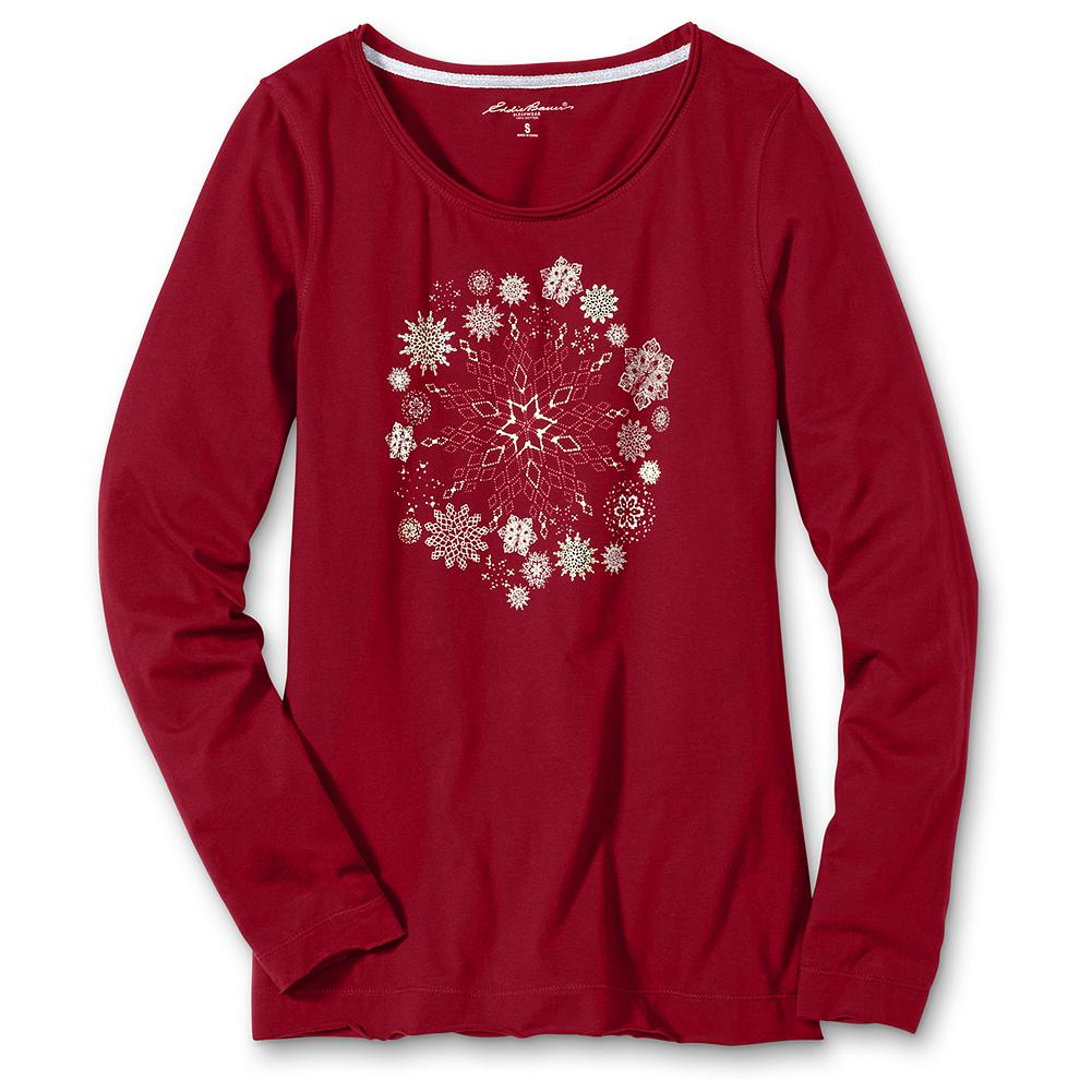 Eddie Bauer Long-Sleeve Snowflake Sleep Tee - Glistening metallic snowflakes add festive charm to our soft cotton jersey sleep tee. Raw edge detail at the neckline. Imported. - $29.95
