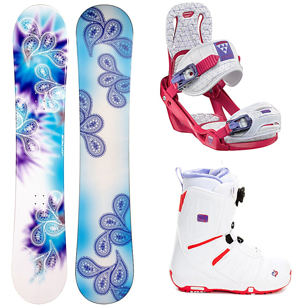 Snowboard Joyride Drops Blue Womens Complete Snowboard Package 2013 - The JoyRide Drops Blue Snowboard Package is a great way for any woman to start out their snowboarding careers. This entry-level package has all you need to help get the basics down whether you want to ride on the groomed trails, ollie in the park or both. The JoyRide Drops Blue Snowboard is lightweight and built with a camber profile. This ensures that you better control and edge hold in a variety of conditions so you can stay on your feet longer. The Salomon Celeste Bindings making progressing easy. EVA Pads add plenty of support and comfort so you can ride from open-to-close with less fatigue. With the Salomon Pearl Boa Boots you will have very comfortable and warm boots to keep your feet in good shape. The Feel Good Liner is cushy and will help keep you supported and the high-density memory foam located in the sensitive areas of the foot comfortable so you'll have less foot fatigue. Best of all is the boa lacing system which provides an excellent, customized fit that you can easily adjust on the fly so you never have to stop to readjust. If you're looking to hone your skills and get to that next level confidently then you'll want to check out this JoyRide Drops Blue Snowboard Package. . Recommended Use: All-Mountain, Snowboard Rocker Profile: Camber, Package Type: Board, Boots, and Bindings, Model Year: 2013, Product ID: 303046, Gender: Womens - $279.99