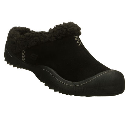 Fitness Warmth; comfort and style mix easily in the SKECHERS Spartan - Snuggly shoe.  Soft suede upper in a low backed slip on cool weather casual clog with rubber toe bumper and faux fur lining. - $50.00