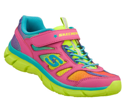 Fun colors and zippy style combine in the SKECHERS Lite Dreamz - Brite Sport shoe.  Smooth leather and mesh fabric upper in a bungee laced slip on sporty casual sneaker with stitching and overlay accents. - $40.00