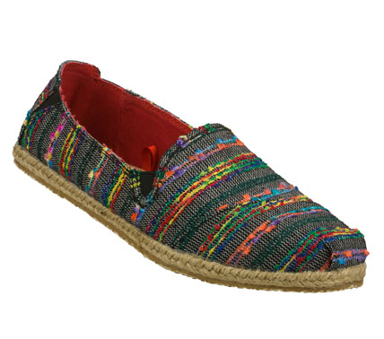 Fall in love all over again with the boho chic style of the SKECHERS Bobs Heart Bob shoe.  Soft woven fabric upper in a slip on casual alpargata flat with color thread and ribbon detail and espadrille sole. - $42.00