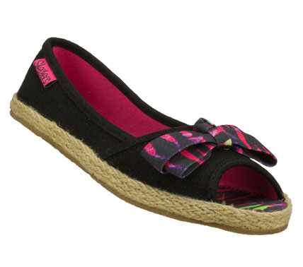 Entertainment Easy wearing warm weather style comes in the SKECHERS Tropicz - Sweet Success shoe.  Soft woven canvas fabric upper in a slip on casual open toe espadrille ballet flat with stitching accents and pretty bow detail. - $27.00
