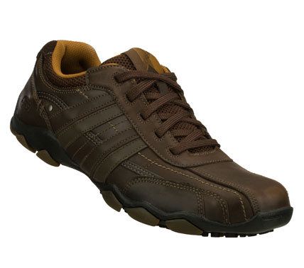 Earn high marks for style wearing the SKECHERS Diameter - Reggor shoe.  Smooth oiled leather upper in a lace up casual oxford with stitching and overlay accents. - $65.00