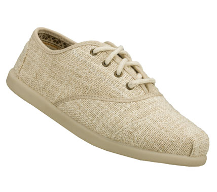 Do your part to help the world with the SKECHERS Bobs World - Remember shoe.  Soft woven eco friendly linen fabric upper in a lace up casual flat oxford with stitching and overlay accents. - $45.00