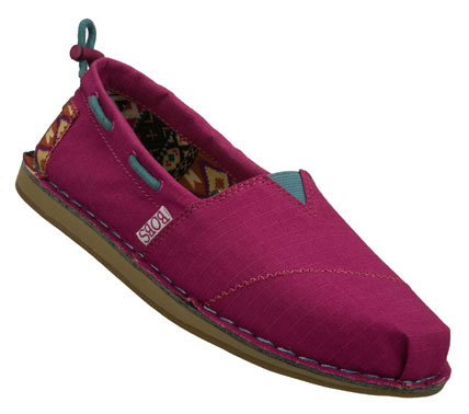 Do good while looking great wearing the SKECHERS Bobs Chill - Global Welfare shoe.  Soft woven canvas fabric upper in a slip on casual alpargata flat with stitching and overlay accents. - $42.00