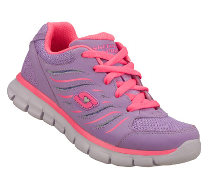 Fitness Running and playing gets even more sporty wearing the SKECHERS Synergy shoe.  Soft nubuck style leather and mesh fabric upper in a lace up sporty athletic training sneaker with stitching and overlay accents. - $45.00