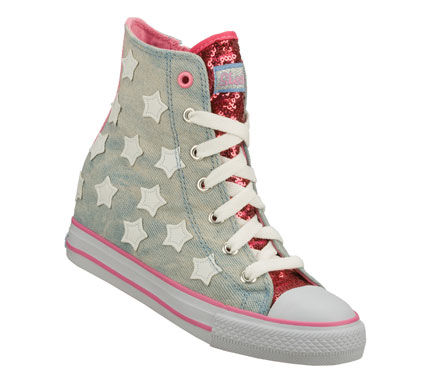 Spangled fun style comes with a nice lift in the SKECHERS Hydee HyTops: Gimme - Starry Skies shoe.  Soft woven canvas fabric upper in a lace up hidden wedge casual high top sneaker with stitching accents and colorful star detail. - $54.00